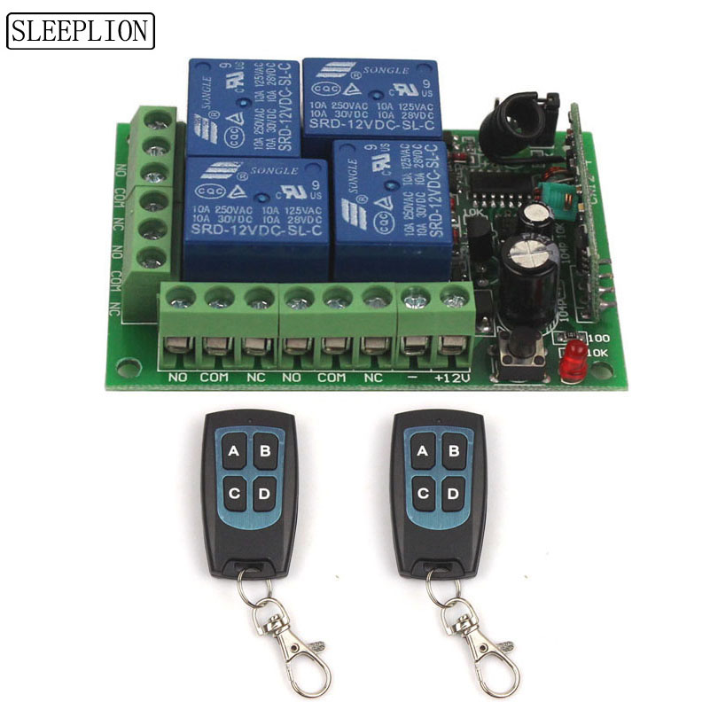 12V 4CH Wireless Remote Switch Universal Remote Control Relay Switch 12V 4 Channel Relay Module Box Board 315433MHz (2)