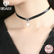 BISAER 100% 925 Sterling Silver & Black Braid Heart Pendant with Clear CZ Choker Necklace For Women Chocker Colar Jewelry ECN070(China)