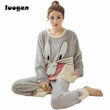 Winter Women Flannel Pajamas Set Sleep Jacket Pant Sleepwear Warm Nightgown Female Cute Cartoon Bugs Bunny Pants Sleepwear(China)