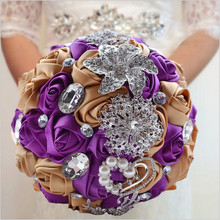 Free shipping romantic purple roses flower bridal bouquet crystal jewelry brooch wedding bouquet holder Custom Color W228-3(China)