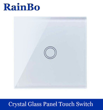 Touch Switch Screen Crystal Glass Panel Switch EU Wall Switch AC110~250V Light Switch 1gang 1 way Black for LED Lamp rainbo(China)