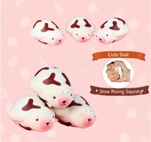 12CM Cute Squishy Kawaii Seal Slow Rising Retail Packing Cell Phone Strap Soft Squeeze Bread Scented Stretchy Toy Gift Pendant(China)