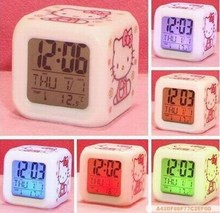 Hello Kitty Color Changing Clock LED 7 Color Led Clock Digital Alarm Clock(China)