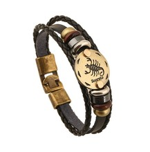New Arrival Wrap Cow Leather Alloy Bracelet  Zodiac Design Scorpio Gift Jewelry Free Shipping Gifts Cool Bracelets Bangle Cuff