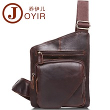 Joyir Vintage Crazy Horse Leather Mens Chest Bag Pack Genuine Leather Crossbody Shoulder Bags Messenger Bag Men Leather Bolsas