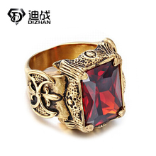 New Punk Rock Mens signet Rings Dragon Claw Big Red Green Purple Glass 316L Stainless Steel Biker Ring(China)