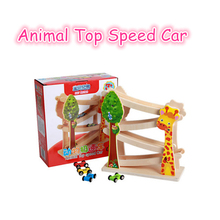 Animal Top Speed Car Race Cars Toy Track car Wooden Funny Toy Educational Toy For Children Building Slot Track Rail Transit(China)