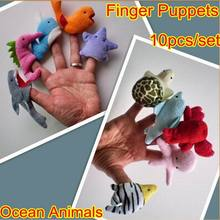 10pc New Plush Soft Stuffed Plush Cute Doll Velvet Ocean Animal Style Finger Puppets Wedding Gift Cartoon Baby Story Telling Toy(China)