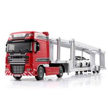 High simulation 1:50 scale diecast Truck trailer Engineering vehicle alloy pull back toys for kids gifts