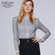 Fashion women tops and blouses O neck 2018 long sleeved OL women shirt lace female solid clothes blouse feminina blusa C903 40(China)