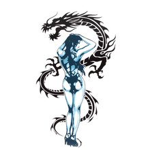 New Motorcycle Decal Sticker Sexy Tattoo Girl And Dragon Sticker Decal For Motorcycle Motorbike Helmet Window Laptop Decoration