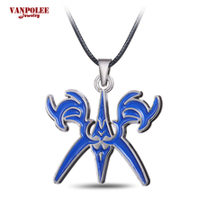 Vanpolee Statement Hot Anime Fate Night Choker Necklace 2016 Stay Night Blue Enamel Pendant Necklace Cosplay Accessories Jewelry