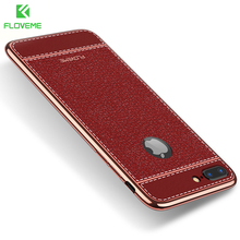 NEW FLOVEME Luxury 3D Litchi Silicone Soft Phone Case For iPhone 6 6S 7 Plus 5 5S SE Case For iPhone 6 7 5S Clear Cover Bag Capa