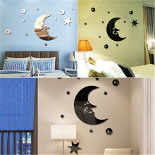 1 Set of Moon&Stars Wall Stickers Moon&Stars 3D Acrylic Mirror Wall Stickers Fancy Wall Decal Wall Poster Decor