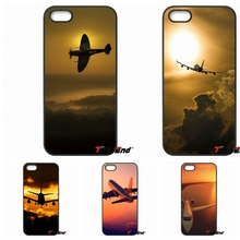 For iPhone 4 4S 5 5C SE 6 6S 7 Plus Galaxy J5 J3 A5 A3 2016 S5 S7 S6 Edge Awesome Plane With Sunset Glow Theme Cell Phone Case