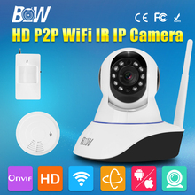 Security Wireless Wifi IP Camera 720P Two Way Audio Video Surveillance Camera Gsm Alarm System + Motion Sensor + Smoke Detector