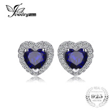 JewelryPalace Heart Of The Ocean 1.2ct Created Blue Sapphire 925 Sterling Silver Stud Earrings Fine Jewelry for Women(China)