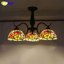 FUMAT Ceiling Light European Vintage Stained Glass Ceiling Lamp Glass Light Fixtures For Living Room Study Room Ceiling Lights