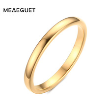 Meaeguet 100% Tungsten Ring 2MM Wide Gold/Silver Color Tungsten Carbide Rings For Women Wedding Finger Jewelry(China)