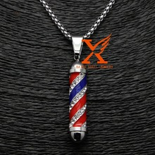 "24"" 3MM Stainless Steel 3D Iced Out Barber Pole Bling Bling Pendant Necklace Box Chain(China)"