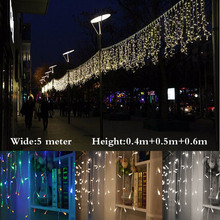 1set String lights Christmas outdoor decoration Dro 5m Droop 0.4m/ 0.5m/0.6m curtain icicle string led lights Garden Party 220V(China)