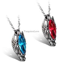 2015 New Fashion Jewelry for Mens Womens Chinese Style Dragon Pendant 316L Stainless Steel Blue & Red Glass Necklaces 55cm Chain(China)