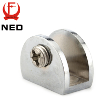 NED Half Round Glass Clamps Plane Zinc Alloy Shelves Support Two Hole Corner Brackets Clips For 8mm Thick Furniture Hardware(China)