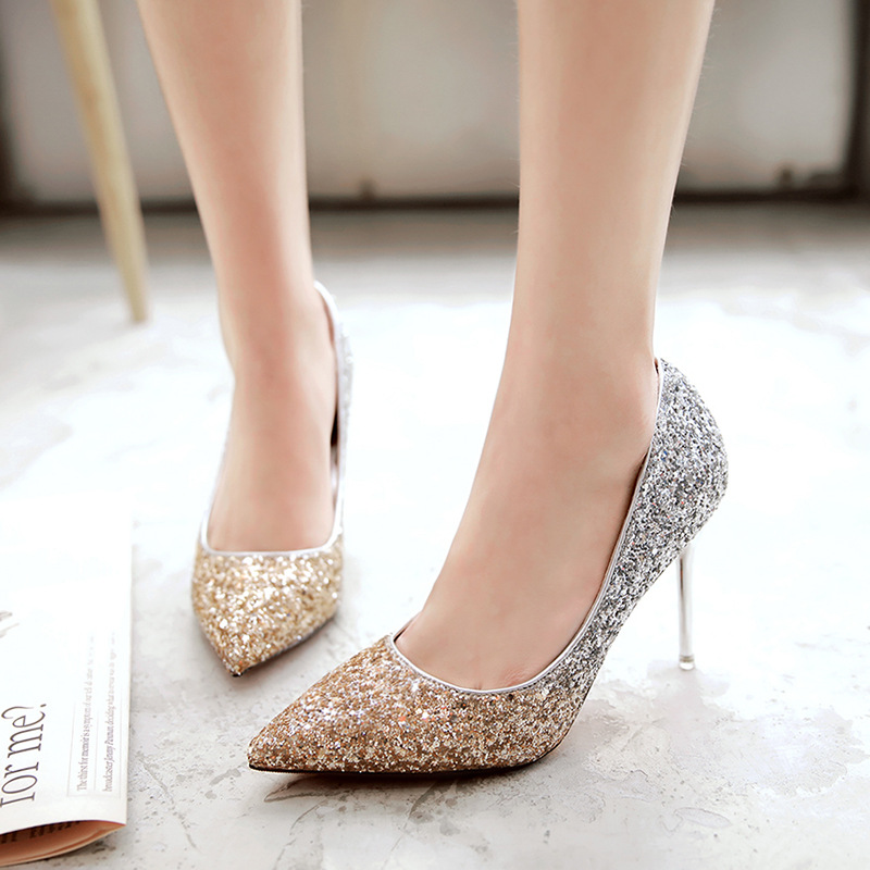 New 2017 Spring And Autumn Pointed Toe High Heels Stilettos Silver Gold Stylish Female Pump Wedding Bridal Shoes Ladies<br><br>Aliexpress