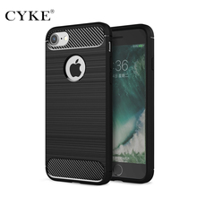 "CYKE Luxury shockproof case for iPhone 8 4.7"" Novelty 2017 silicone case for Apple IPhone8 case soft Carbon Fiber TPU cover"