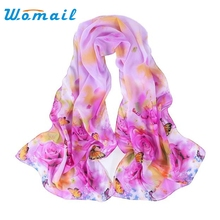 Womail Women Chiffon Scarf Fashion Peony Printing Shawls Scarves Long Stole Silk Scarf 5 colors #20 2016 1pc