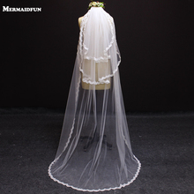 2017 New Arrival 3 Layers Lace Edge 2 Meters Wedding Veil WITH Comb White Ivory 3 Tiers Bridal Veil(China)