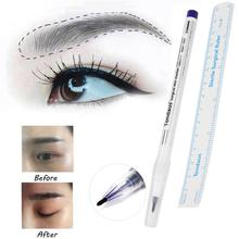 2Pcs Microblading Tattoo Eyebrow Skin Marker Pen With Measure Measuring Ruler SP19 Drop Shipping(China)
