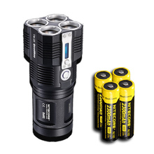 2017 NITECORE TM26 4xLed 4000 Lumens 454M Distance Oled Display Searching rechargeable Flashlight+4x18650 Battery+Free shipping(China)
