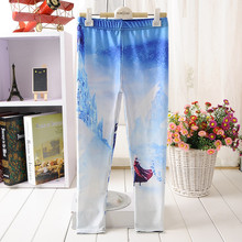 For Teenage Girl Cartoon Frozen Ice World Print Fitness Pants Casual Exercise Leggings Elastic Fiber Full Length Energy Trousers(China)