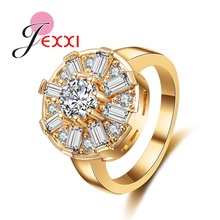 JEXXI Classic Round Shape Charm Zirconia Crystal Stone Women Wedding Engagement Rings Bling Color  Gold High Quality Jewelry