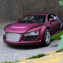 1:32 Alloy car model Audi R8 Four open the door Back to power and sound Children's car toys Give the child the best gift(China)