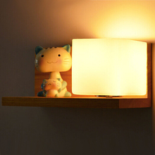 Fashion Modern Solid Wood Glass Wall Sconce Oak LED Wall Light For Corridor Bedside Lamp Indoor Lighting Arandela De Parede(China)