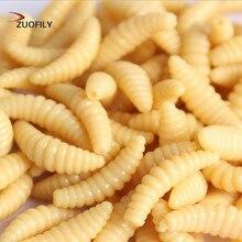 Promotion 50PCS 2cm 0.3g maggot Grub Soft Fishing Lure hooks  smell Worms Glow Shrimps Fish Lures(China)