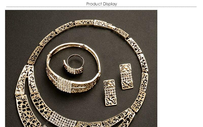 AYAYOO Women Jewelry Sets Dubai Earrings Bracelet African Beads Jewelry Set 2018 Nigerian Wedding Gold Color Jewellery (1)