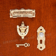 Odoria 1:12 4PCS Golden Metal Door Knocker Lock Doorplate Set Dollhouse Hardware Miniature Fairy Door Accessories