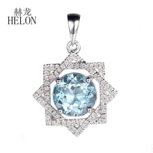 HELON Fine Natural Diamonds Pendant Solid 10k White Gold Round 8-9mm Sky Blue Topaz Pendant Cocktail Engagement Wedding Jewelry(China)