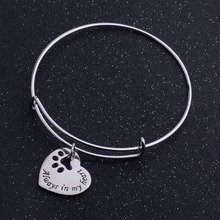 Always In My Heart Paws Bangle Prints Dog Tag Bracelet Silver Jewelry Charm Bracelets For Women Men Gifts Love