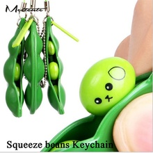 Meetcute Funny Cute Squeeze the beans Key Chain Green Soybeans Plastic Anti Stress Toys Keychain For Phone Gift Anime Trinkets(China)