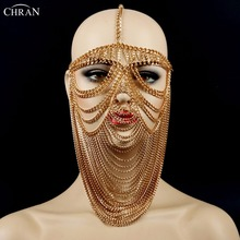 Chran New Sexy Luxury Women Punk Multi Layer Metal Head Chain Headdress Jewelry Forehead Headband Face Mask Body Jewelry CRBJ805(China)
