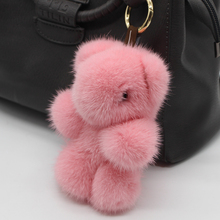 Genuine 13cm Fashionable Soft Leather Mink Fur Keychain Key Chain Panda Ring Bag Pendant Car Accessories Key Chains Plush Toy