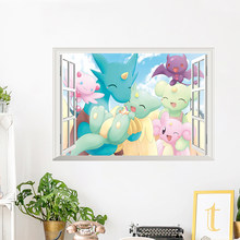 Cartoon Japan Anime 3D View Window Wall Stickers Home Decor Living Room Kids Room Poster Cute Animals Mural PVC Wall Art Decals(China)