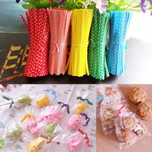 100Pcs/pack Candy color Dot Print Twist Ties Wire For Cake Pops Sealing Cello Bags Lollipop Gifts Packgae