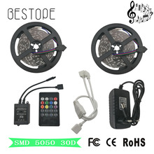 SMD RGB LED Strip Light 5050 RGB 4M 5M 8M 10M led non waterproof ight smd lamp tape Led String Remote DC12V Power Kit(China)