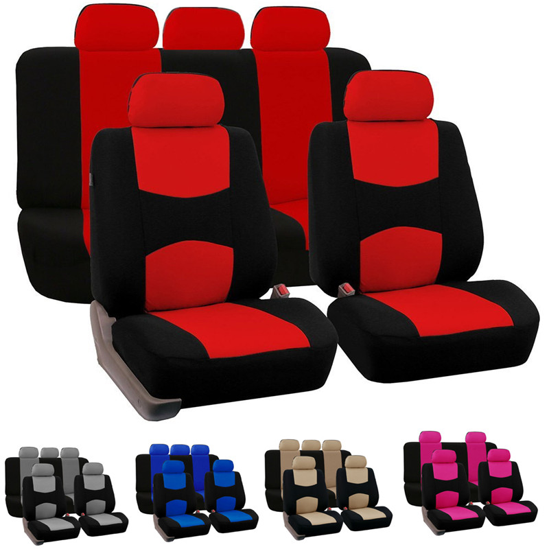 Black Red Leather Car Seat Covers Cover Set For Fiat Panda 2004-2011