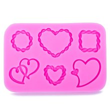 Heart-shaped photo frame 3D Craft Relief Chocolate confectionery Silicone Mold Fondant Cake Kitchen Decorating DIY Tools FT-1061(China)